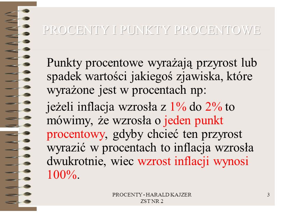 PROCENTY I PUNKTY PROCENTOWE