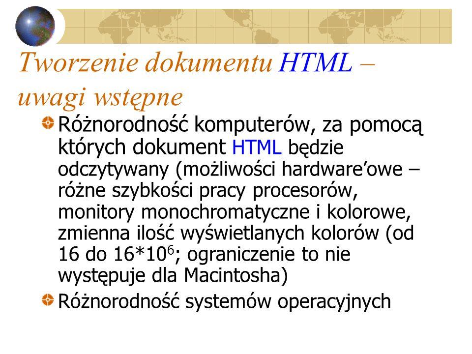 Tworzenie dokumentu HTML – uwagi wstępne