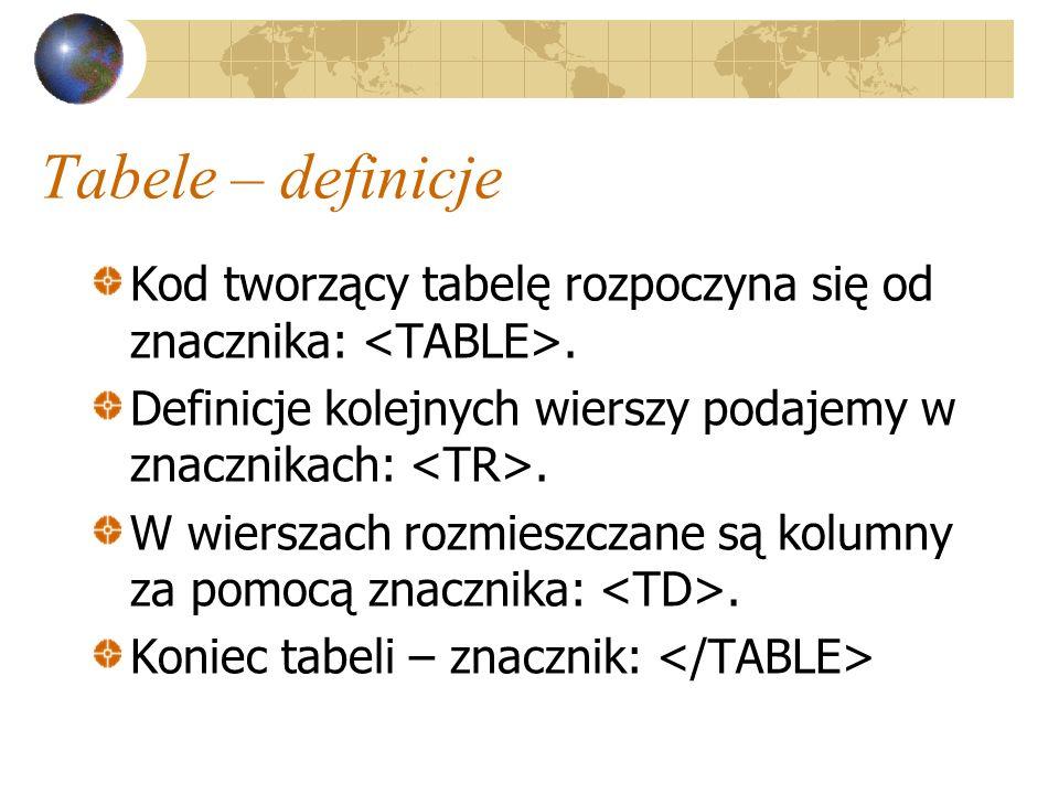 Tabele – definicje Kod tworzący tabelę rozpoczyna się od znacznika: <TABLE>. Definicje kolejnych wierszy podajemy w znacznikach: <TR>.