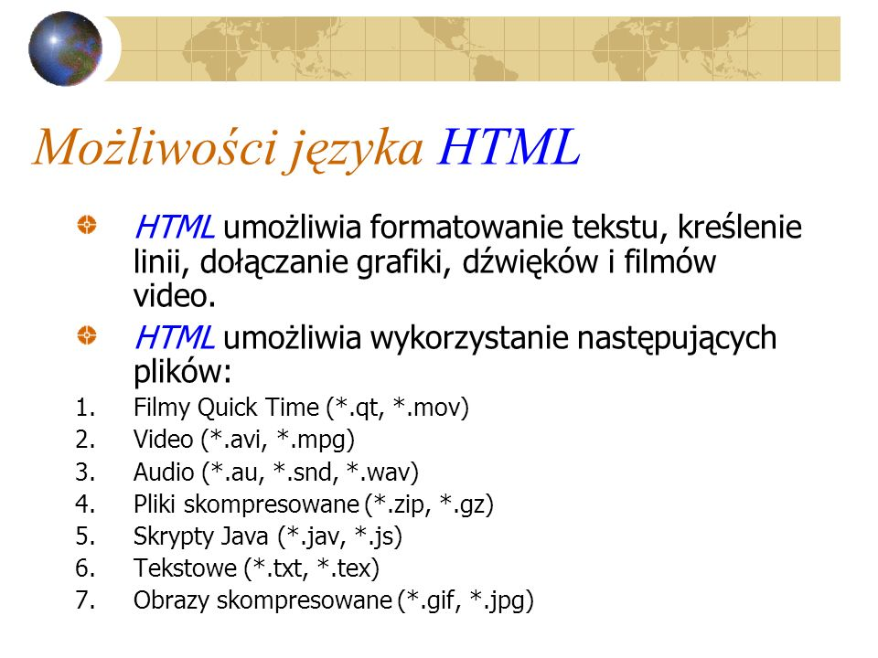 Możliwości języka HTML
