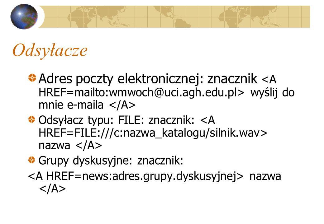 Odsyłacze Adres poczty elektronicznej: znacznik <A HREF=mailto:wmwoch@uci.agh.edu.pl> wyślij do mnie e-maila </A>