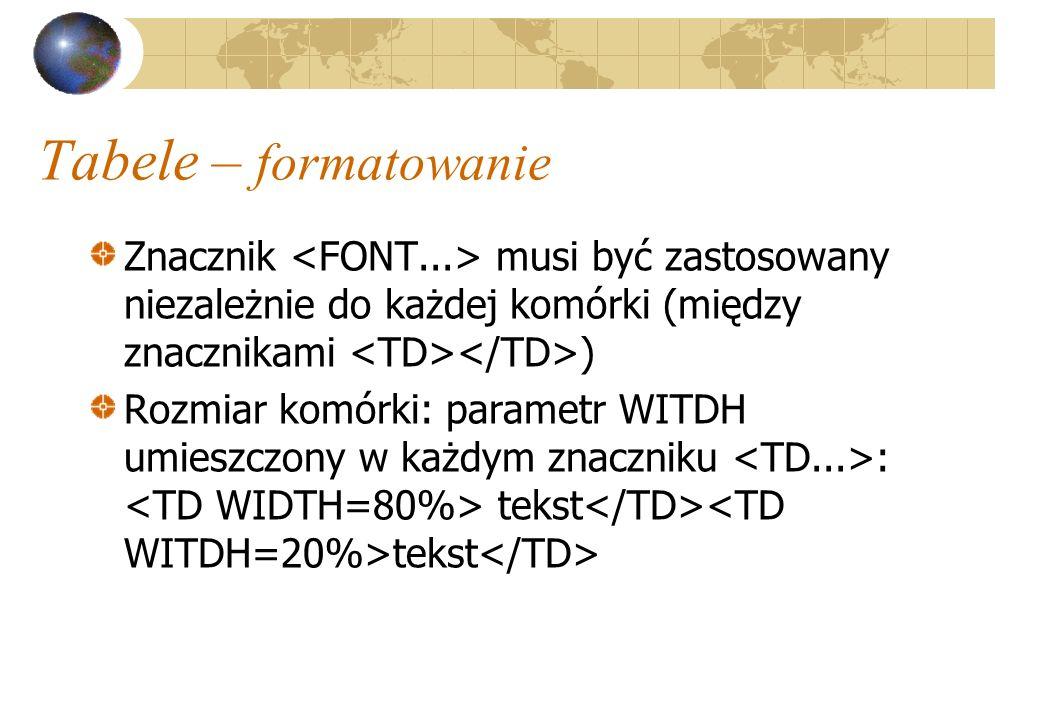 Tabele – formatowanie Znacznik <FONT...> musi być zastosowany niezależnie do każdej komórki (między znacznikami <TD></TD>)