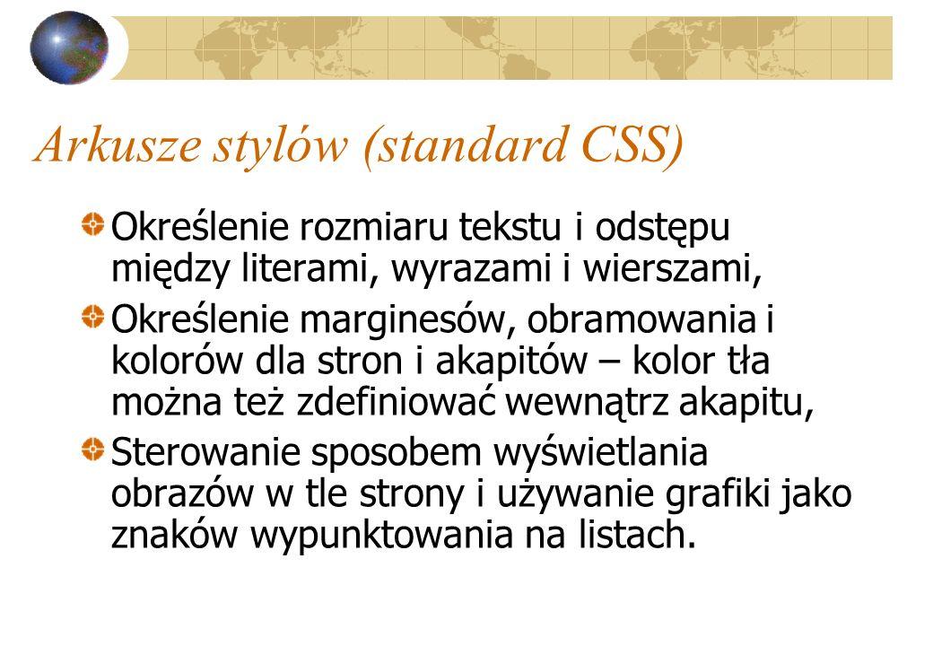 Arkusze stylów (standard CSS)