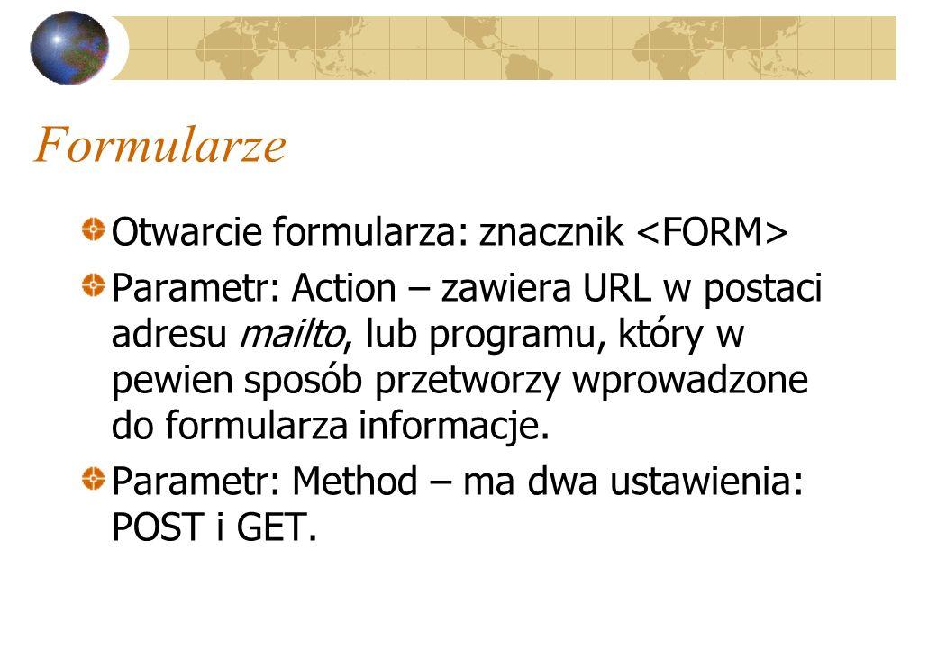 Formularze Otwarcie formularza: znacznik <FORM>