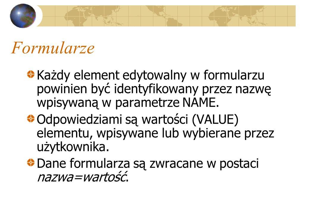 Formularze Każdy element edytowalny w formularzu powinien być identyfikowany przez nazwę wpisywaną w parametrze NAME.