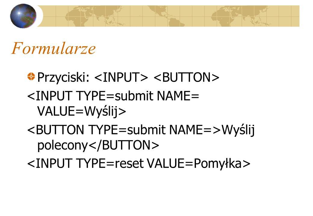 Formularze Przyciski: <INPUT> <BUTTON>
