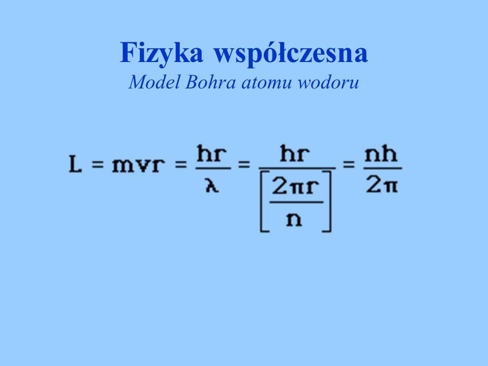 Fizyka współczesna Model Bohra atomu wodoru