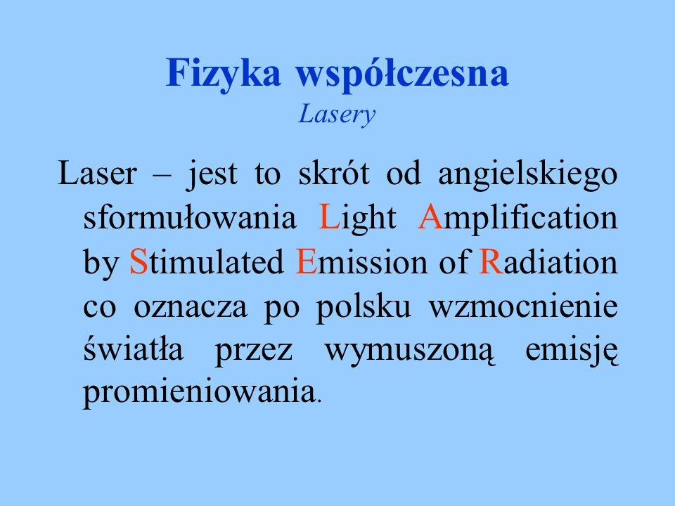 Fizyka współczesna Lasery