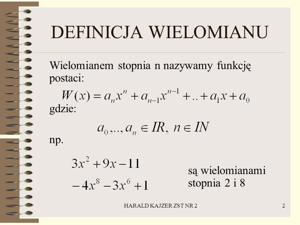 DEFINICJA WIELOMIANU Wielomianem stopnia n nazywamy funkcję postaci: