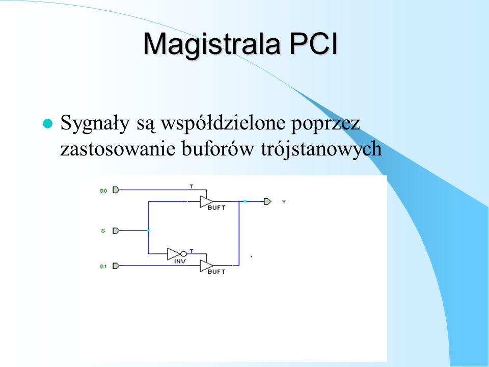 Magistrala PCI Sygnały są współdzielone poprzez zastosowanie buforów trójstanowych