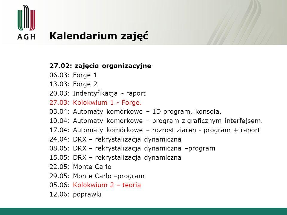 Kalendarium zajęć 27.02: zajęcia organizacyjne 06.03: Forge 1