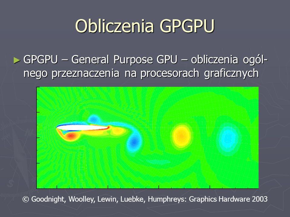 Obliczenia GPGPU GPGPU – General Purpose GPU – obliczenia ogól-nego przeznaczenia na procesorach graficznych.