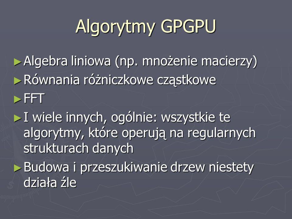 Algorytmy GPGPU Algebra liniowa (np. mnożenie macierzy)