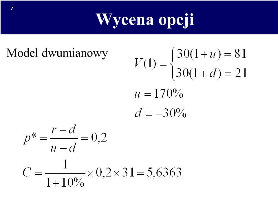Wycena opcji Model dwumianowy