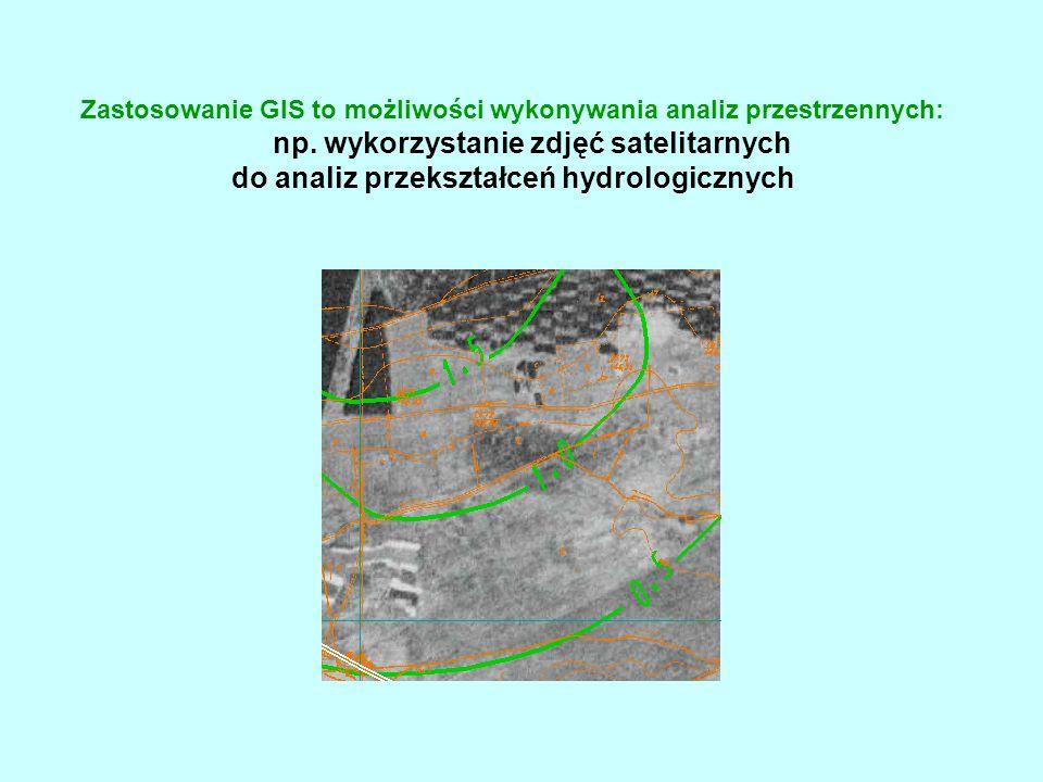 Zastosowanie GIS to możliwości wykonywania analiz przestrzennych:. np
