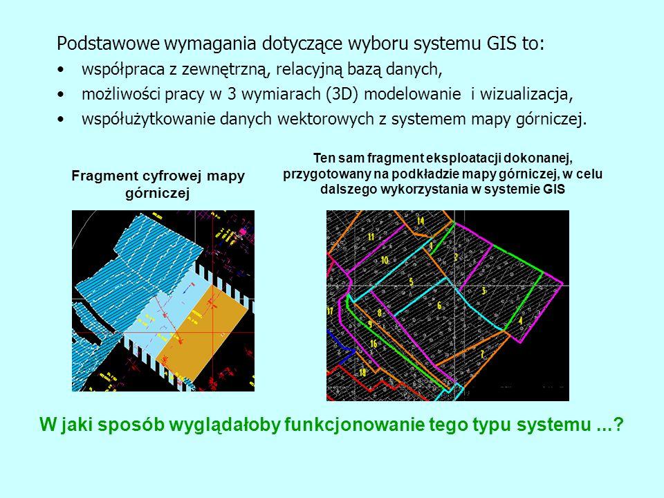 Fragment cyfrowej mapy górniczej