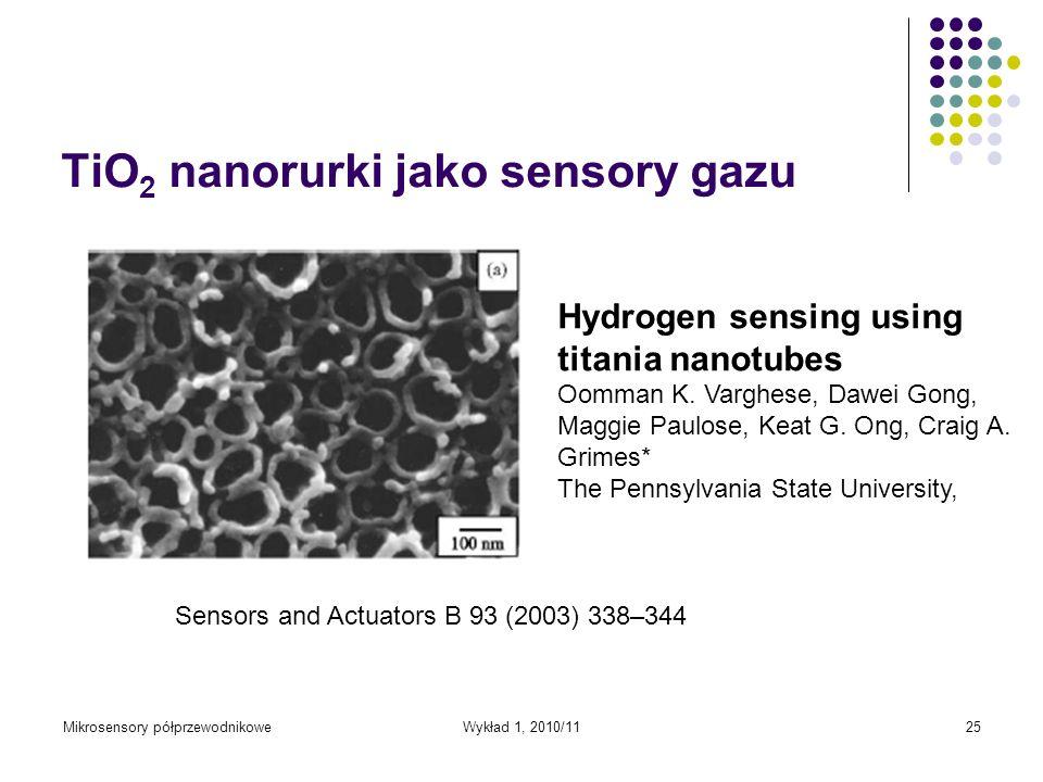 TiO2 nanorurki jako sensory gazu