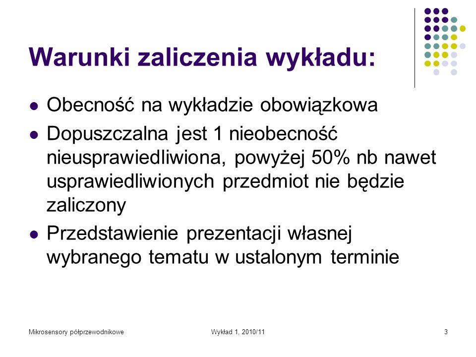 Warunki zaliczenia wykładu: