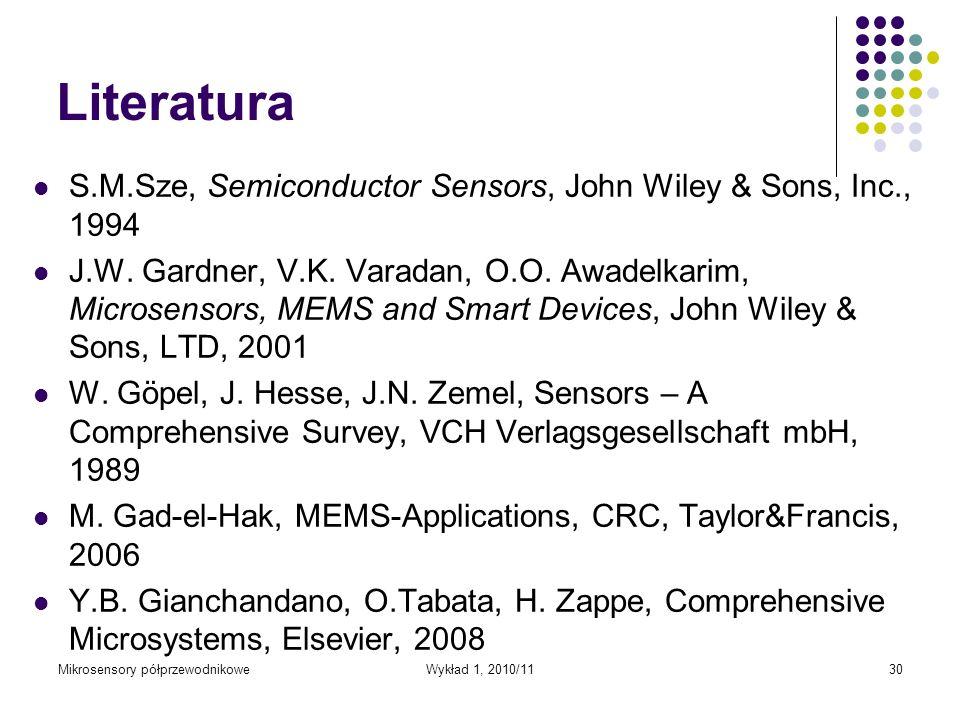 Literatura S.M.Sze, Semiconductor Sensors, John Wiley & Sons, Inc., 1994.