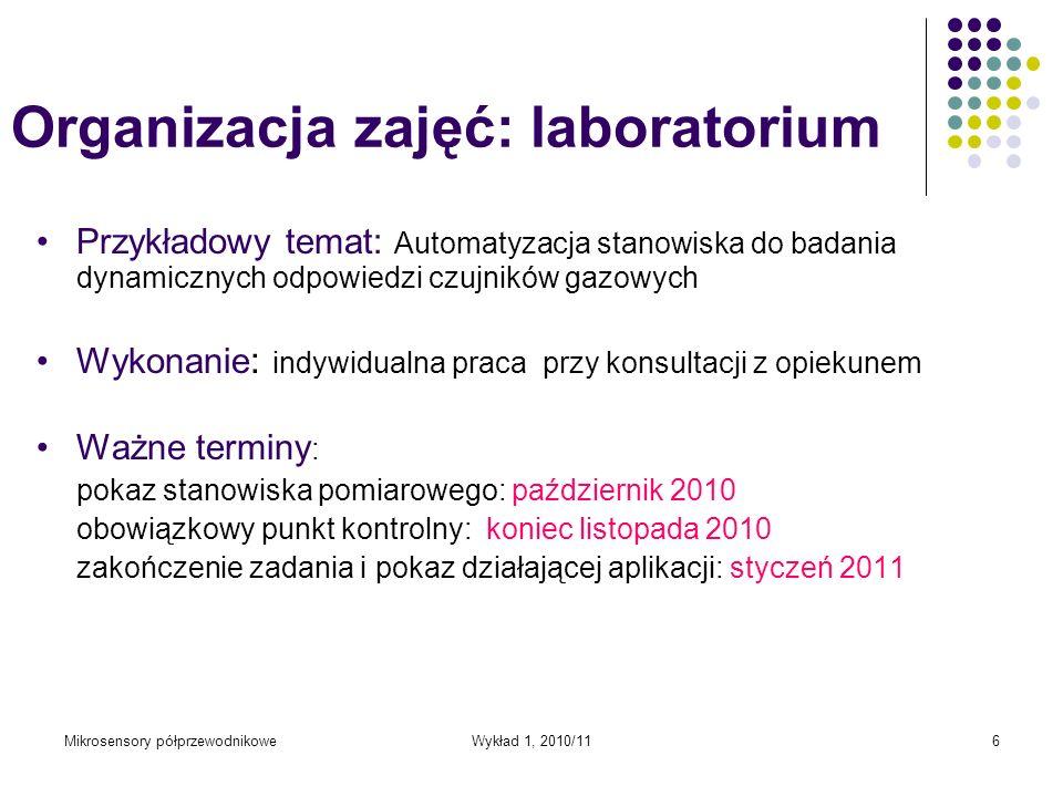 Organizacja zajęć: laboratorium