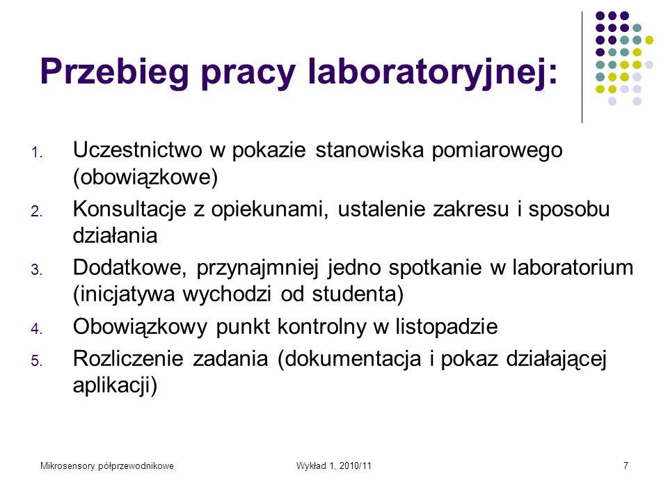 Przebieg pracy laboratoryjnej: