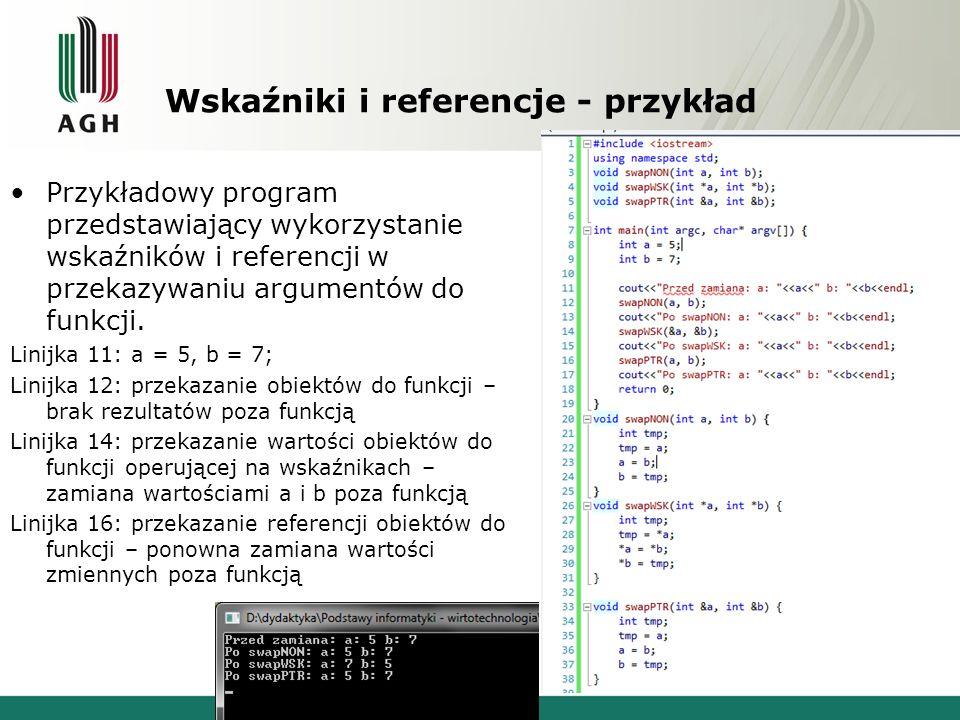 Wskaźniki i referencje - przykład