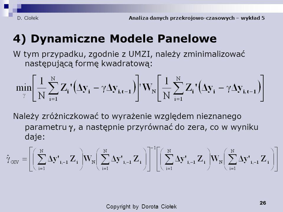 D. Ciołek Analiza danych przekrojowo-czasowych – wykład 5