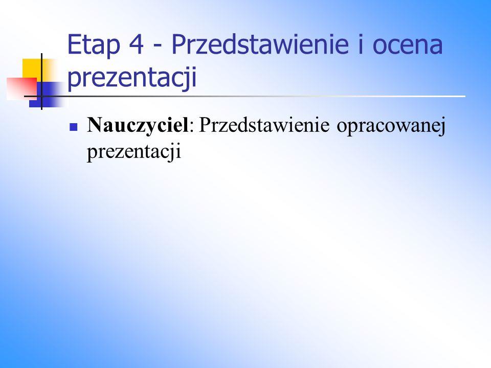 Etap 4 - Przedstawienie i ocena prezentacji