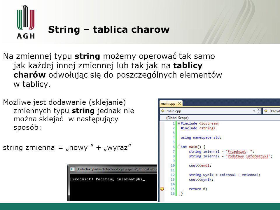 String – tablica charow