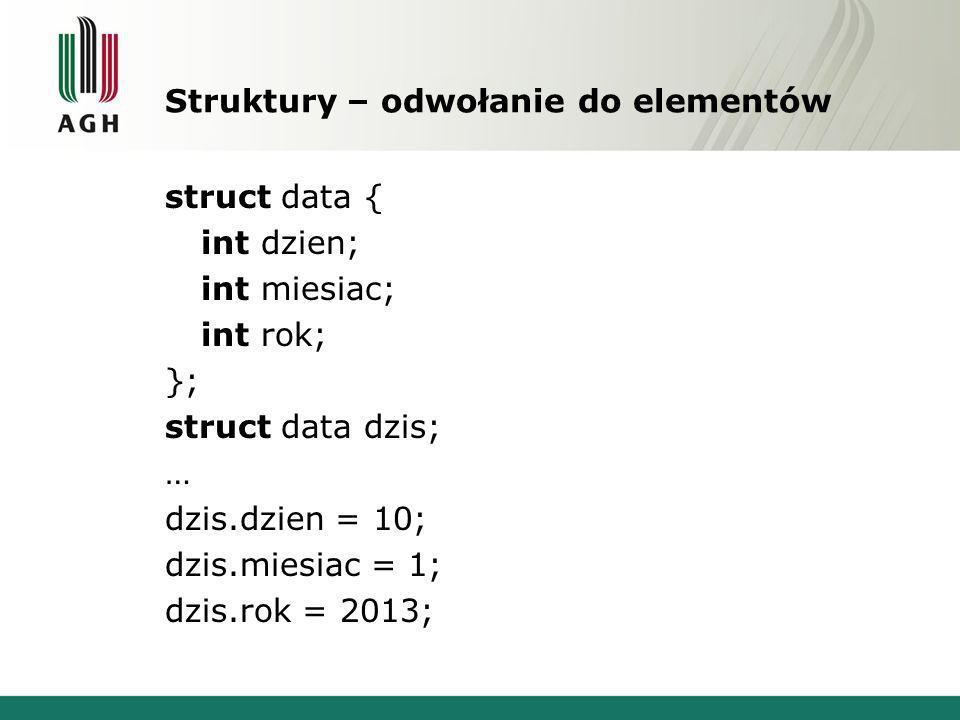 Struktury – odwołanie do elementów