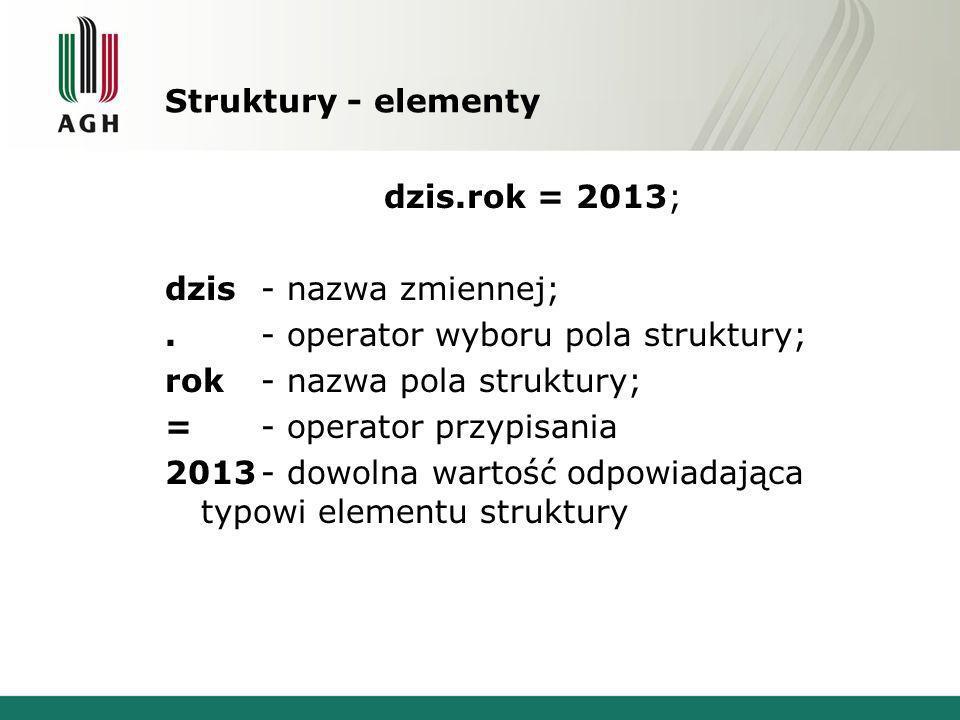 Struktury - elementydzis.rok = 2013; dzis - nazwa zmiennej; . - operator wyboru pola struktury; rok - nazwa pola struktury;