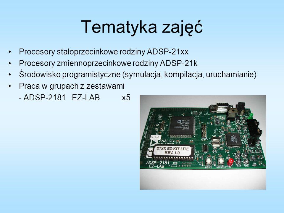 Tematyka zajęć Procesory stałoprzecinkowe rodziny ADSP-21xx