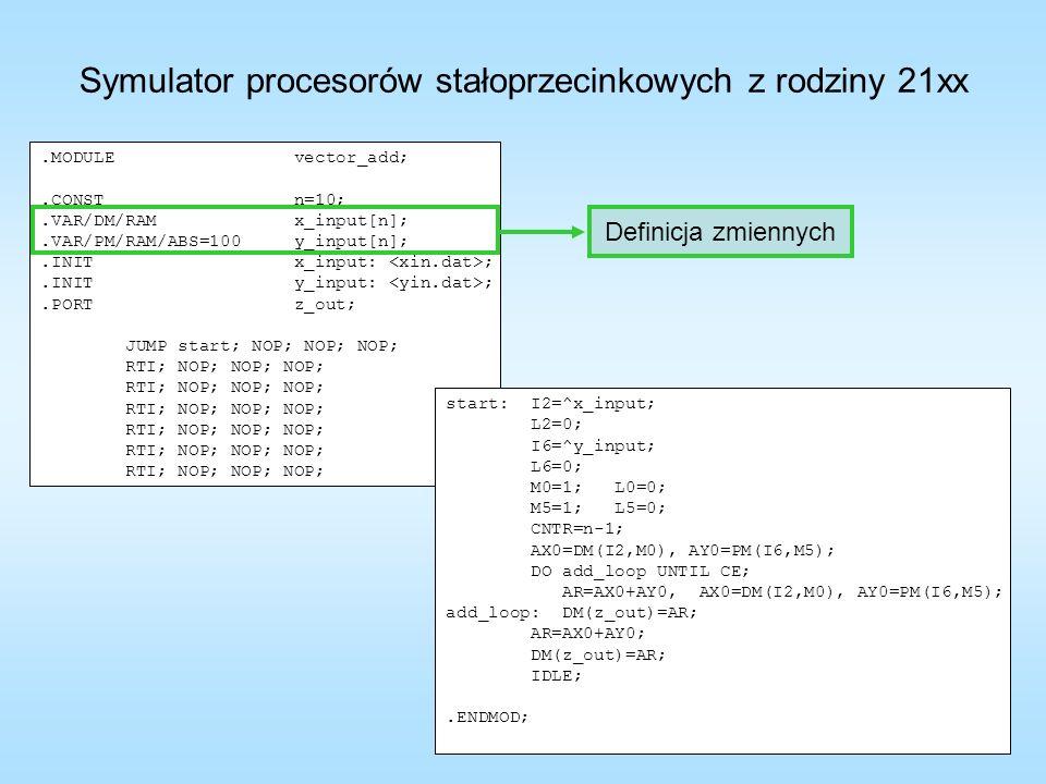 Symulator procesorów stałoprzecinkowych z rodziny 21xx