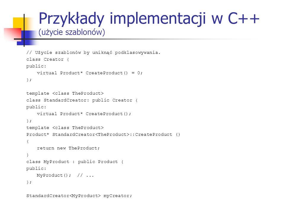 Przykłady implementacji w C++ (użycie szablonów)