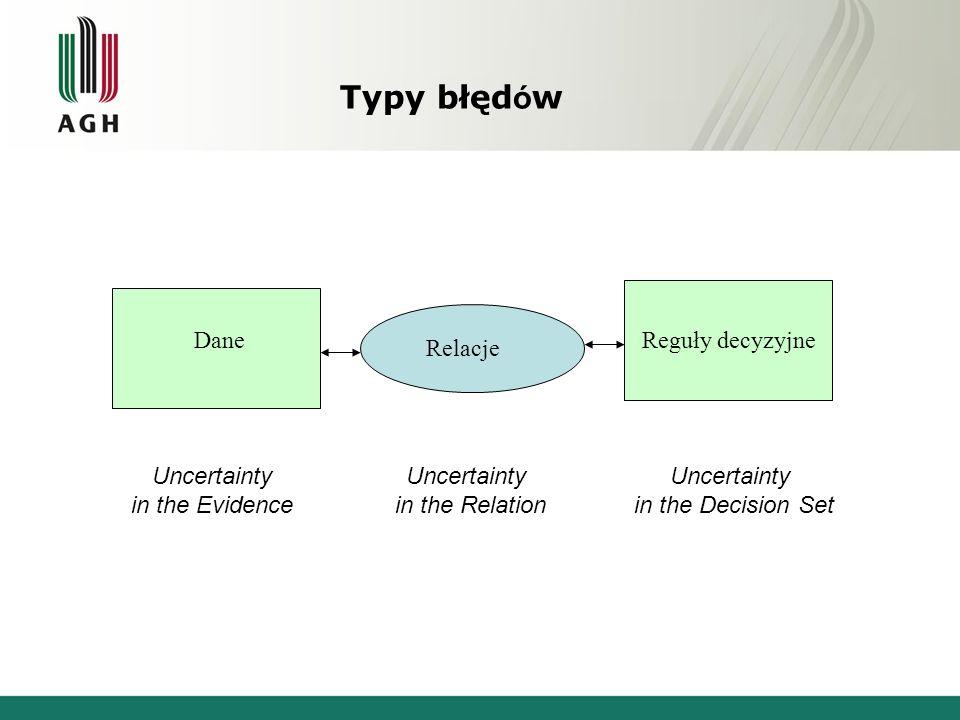 Typy błędów Dane Reguły decyzyjne Relacje Uncertainty in the Evidence