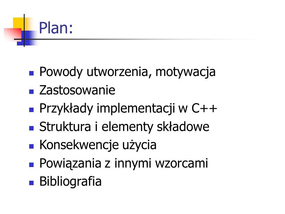 Plan: Powody utworzenia, motywacja Zastosowanie