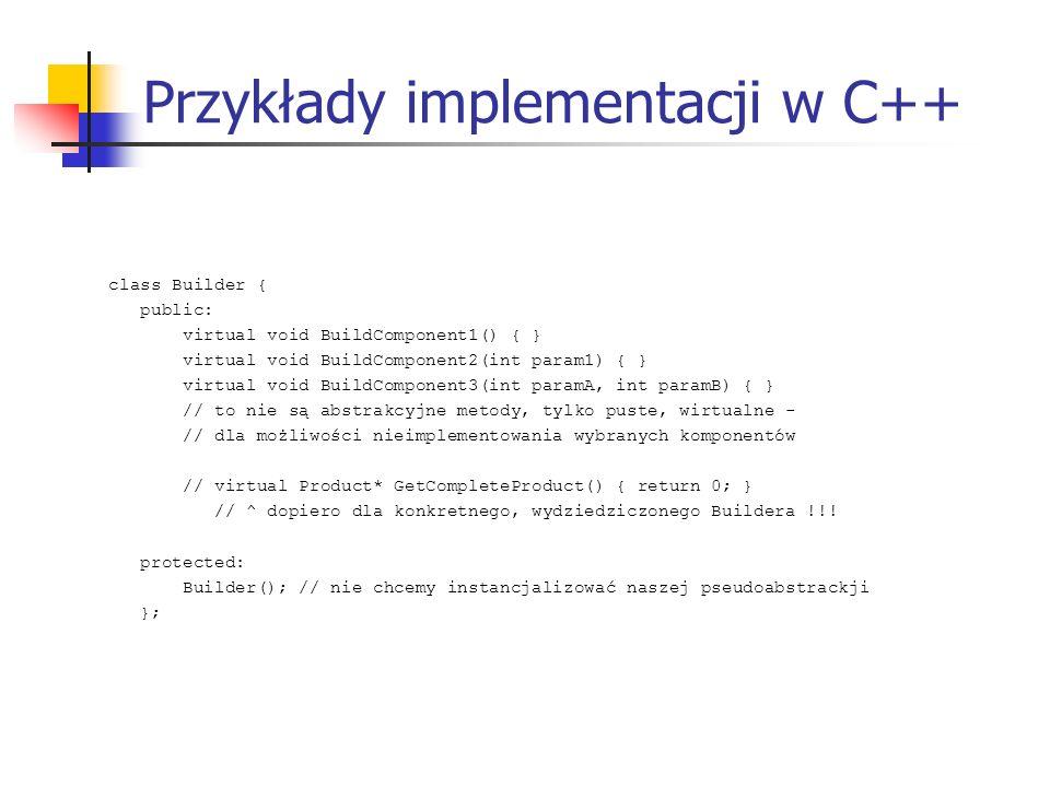 Przykłady implementacji w C++