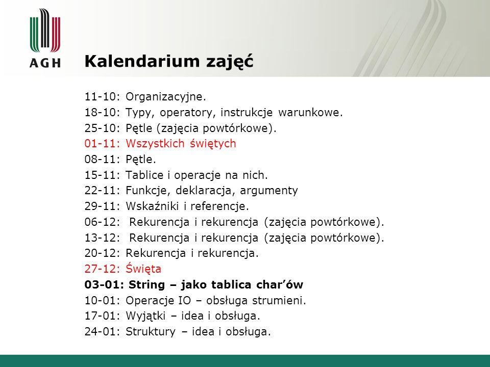 Kalendarium zajęć 11-10: Organizacyjne.