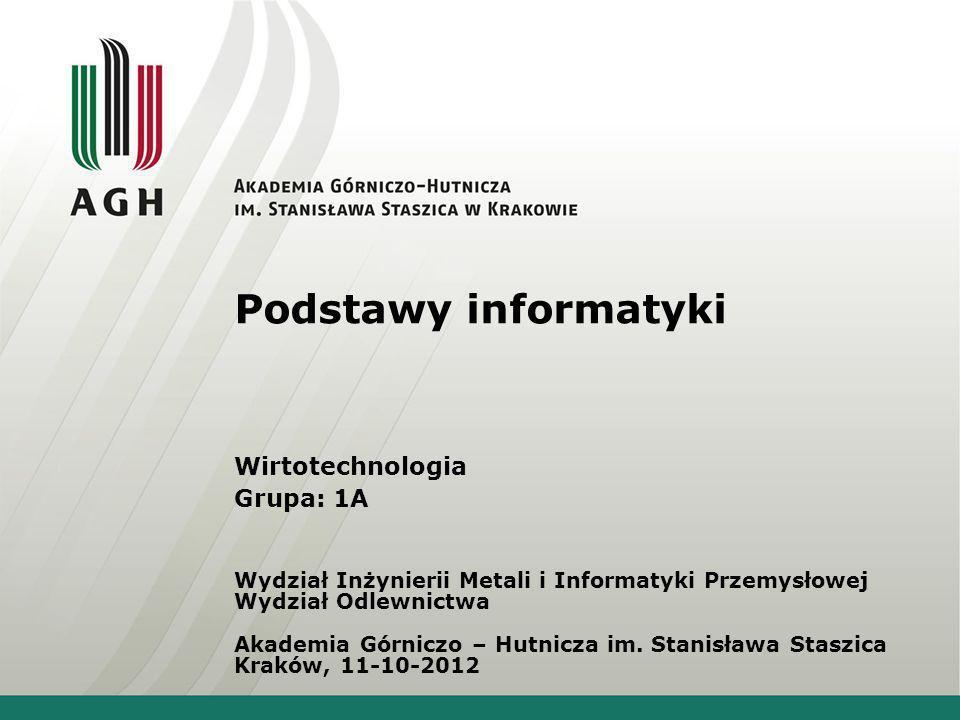 Podstawy informatyki Wirtotechnologia Grupa: 1A