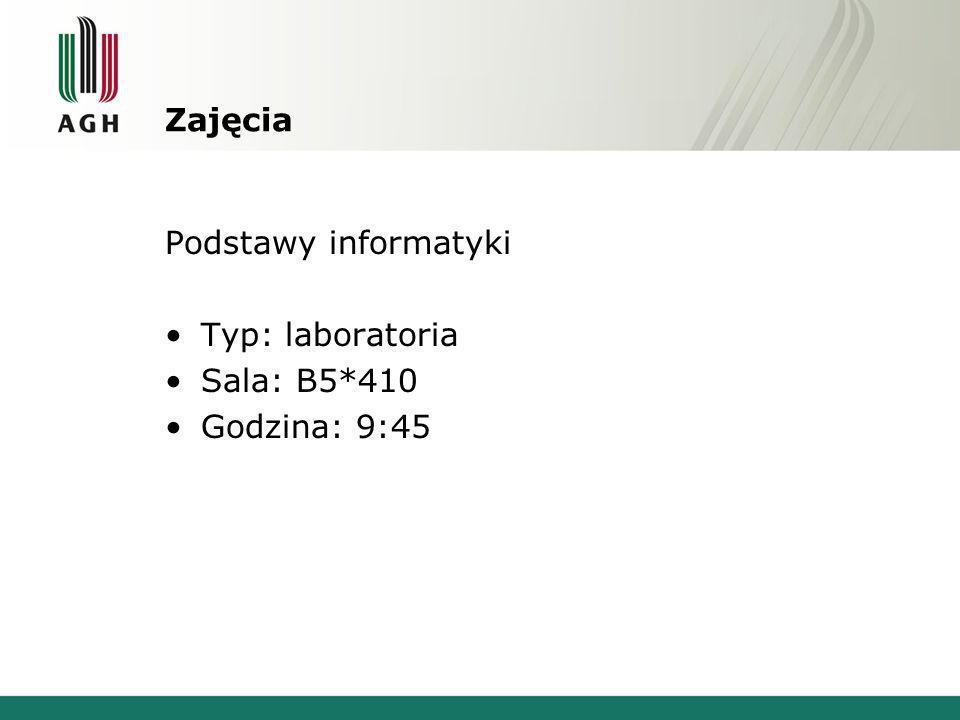 Zajęcia Podstawy informatyki Typ: laboratoria Sala: B5*410 Godzina: 9:45