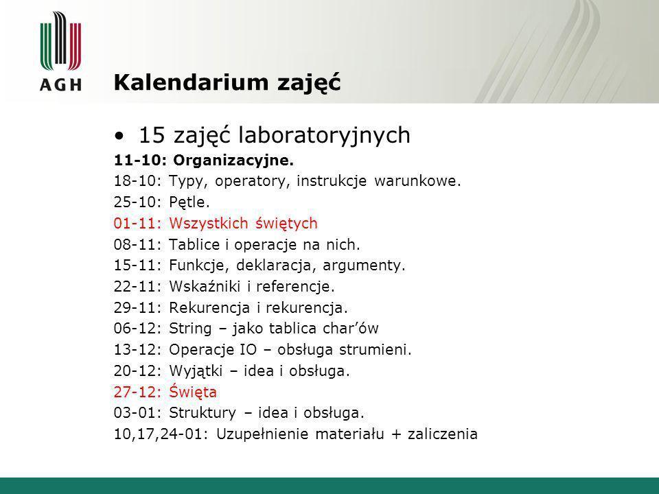 15 zajęć laboratoryjnych