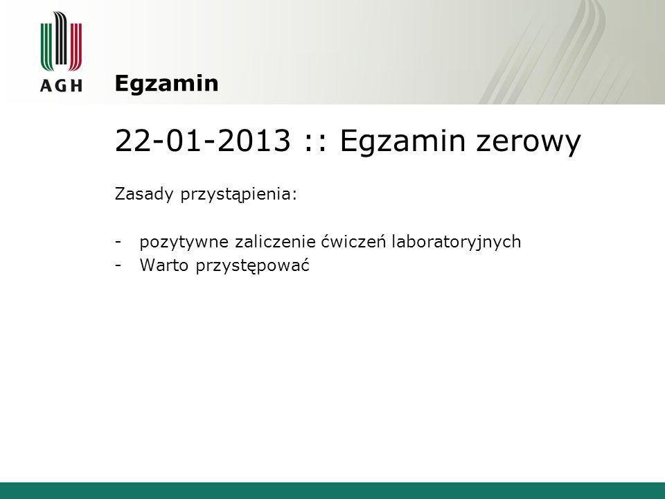 22-01-2013 :: Egzamin zerowy Egzamin Zasady przystąpienia: