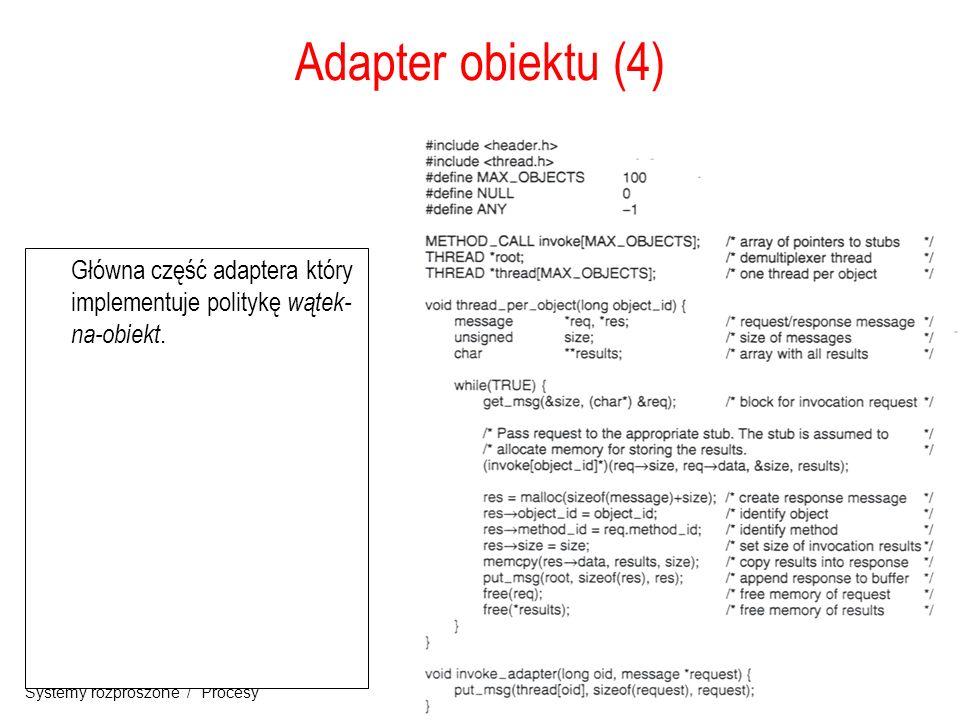 Adapter obiektu (4) Główna część adaptera który implementuje politykę wątek-na-obiekt.