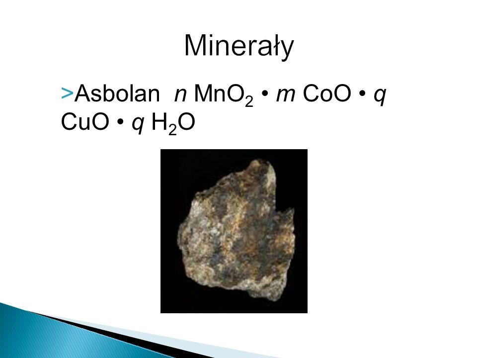 Minerały Asbolan n MnO2 • m CoO • q CuO • q H2O