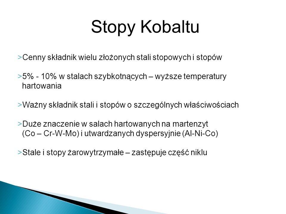 Stopy Kobaltu Cenny składnik wielu złożonych stali stopowych i stopów