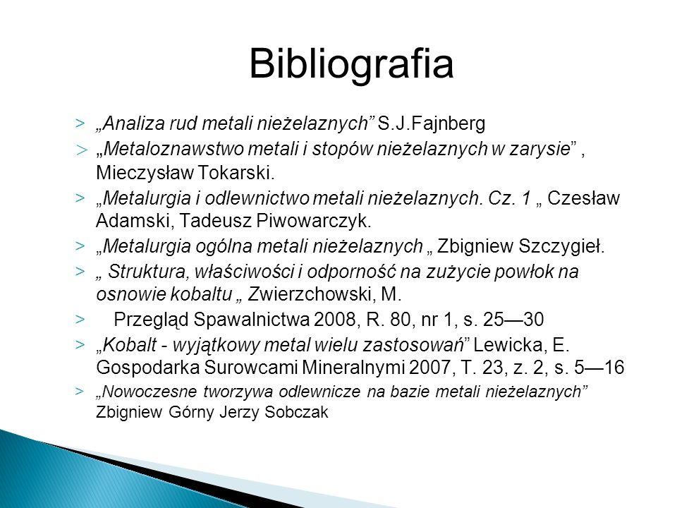 """Bibliografia """"Analiza rud metali nieżelaznych S.J.Fajnberg"""