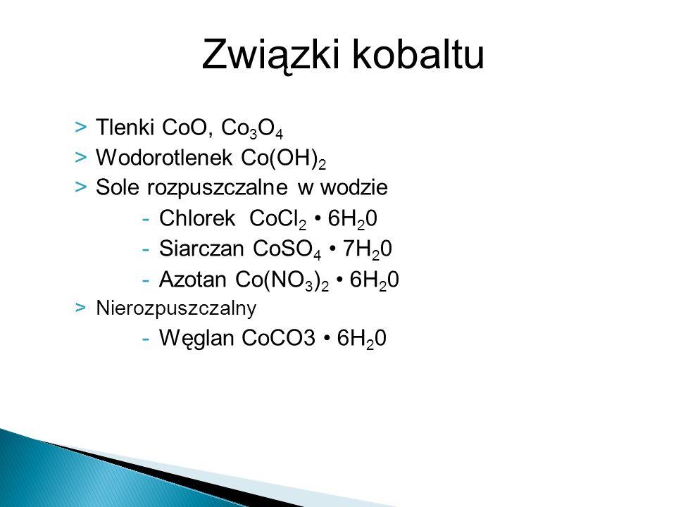 Związki kobaltu Tlenki CoO, Co3O4 Wodorotlenek Co(OH)2