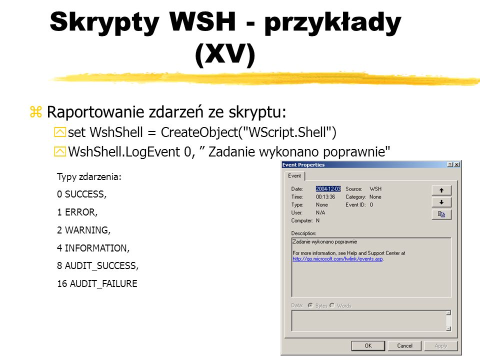 Skrypty WSH - przykłady (XV)