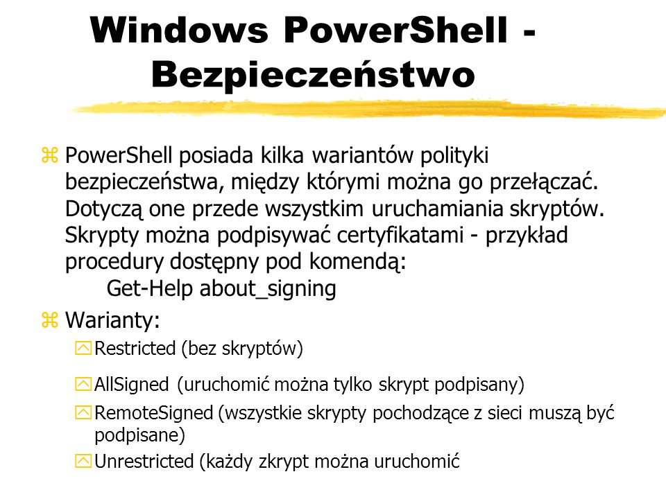 Windows PowerShell - Bezpieczeństwo