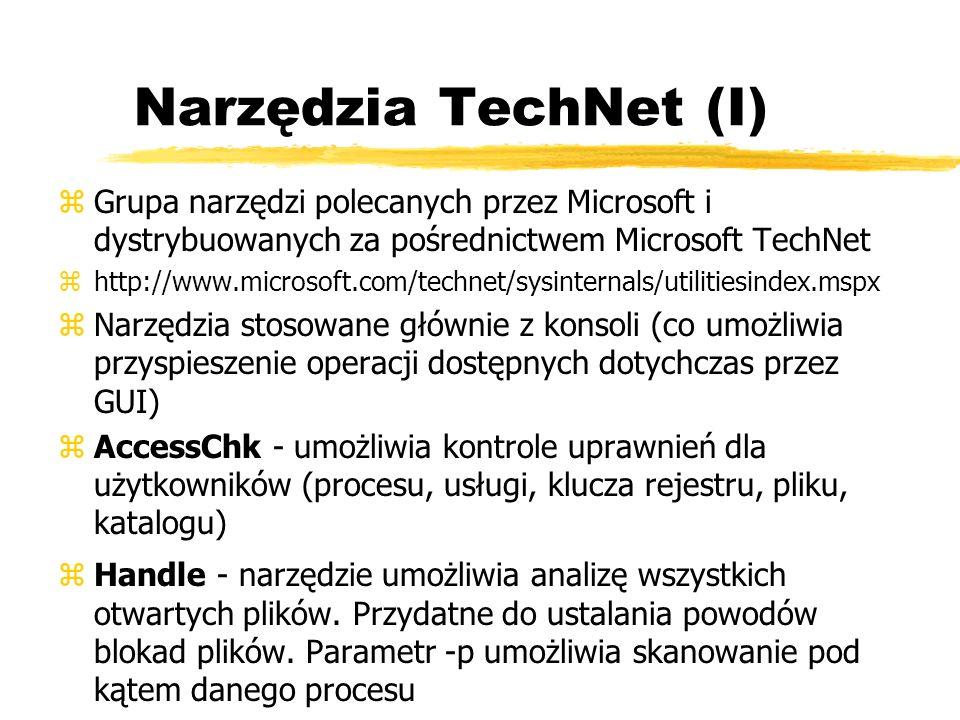Narzędzia TechNet (I)Grupa narzędzi polecanych przez Microsoft i dystrybuowanych za pośrednictwem Microsoft TechNet.
